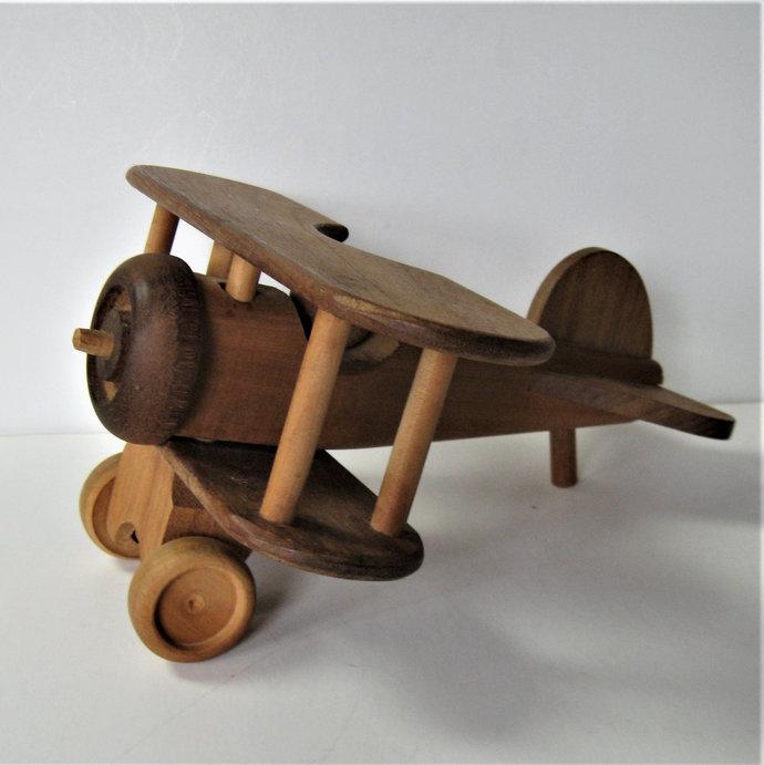 "Hand made vintage wooden Toy Airplane, Nursery Decor, Bi Plane, Boy's Room, 12"""