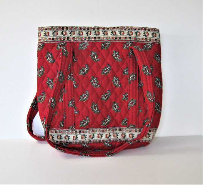 "Vintage Vera Bradley Red quilted fabric tote, 12"" x 12"", paisley pattern, French"