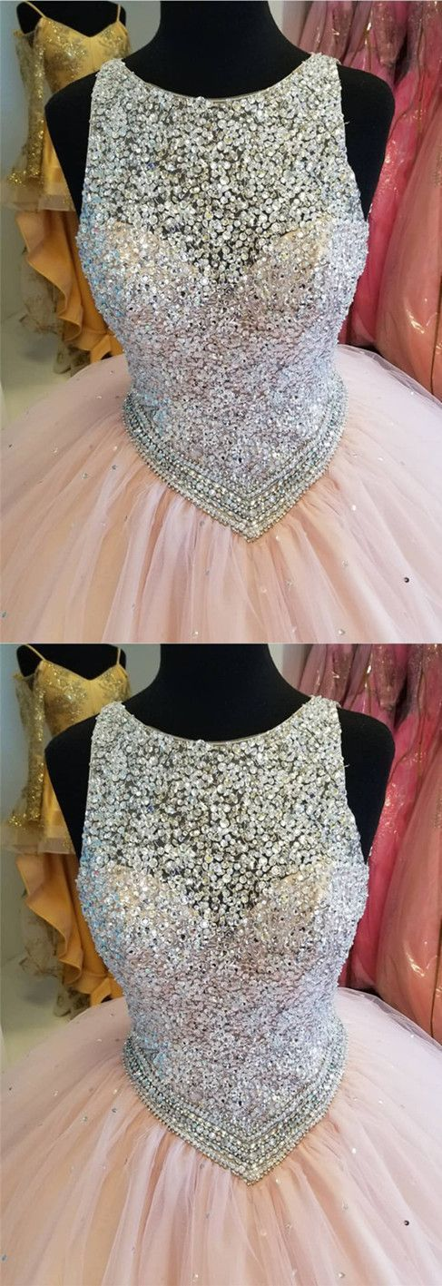 Stunning Sequins Beaded Keyhole Back Tulle Ball Gowns Quinceanera Dresses