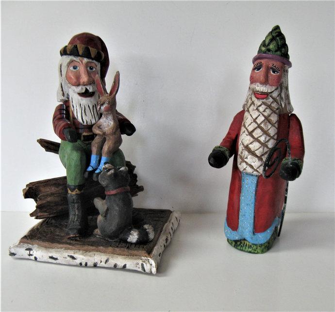 "2 handmade Vintage Santa Claus figures, signed Peggy Herrick, 8"" tall, Primitive"