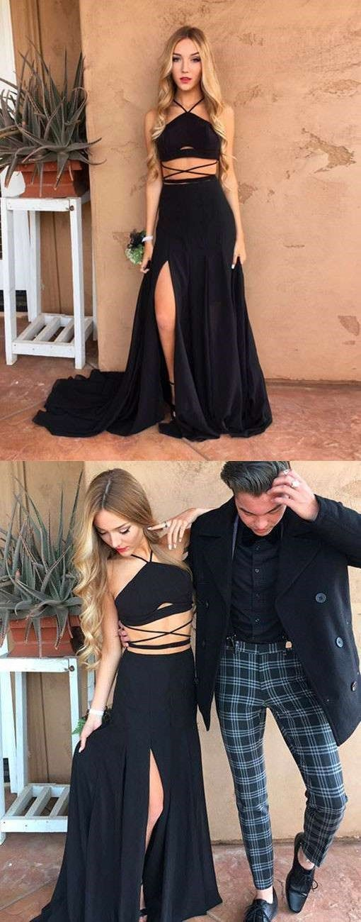 Sexy halter party dress,black long prom dress