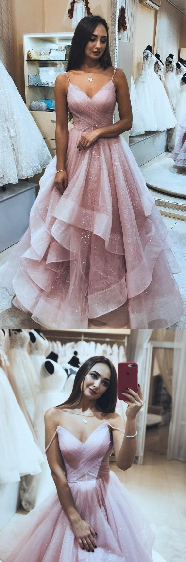Princess Pink Tulle Long Prom Dress