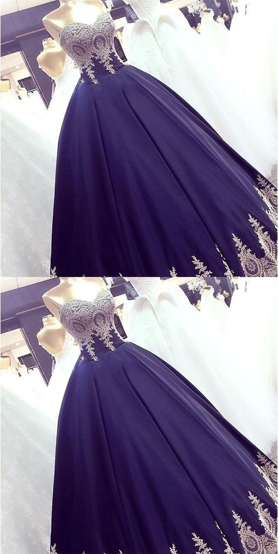 Navy Blue Appliques Ball Gown Prom Dresses, Elegant Sweetheart Formal Evening