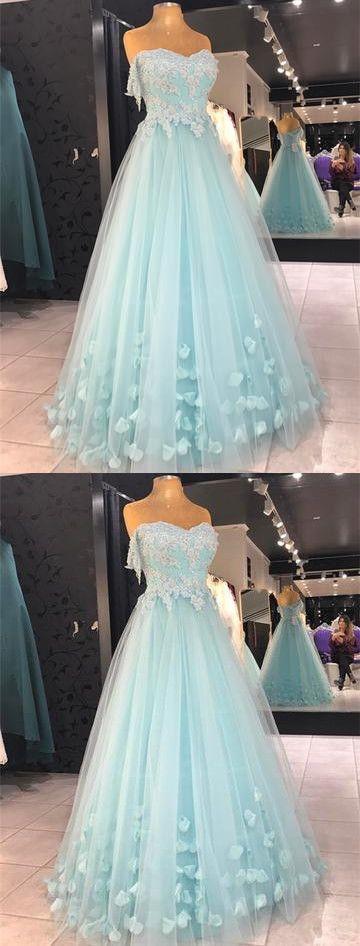 Gorgeous Beautiful A Line Sweetheart Light Blue Long Prom Dresses, Lace Long
