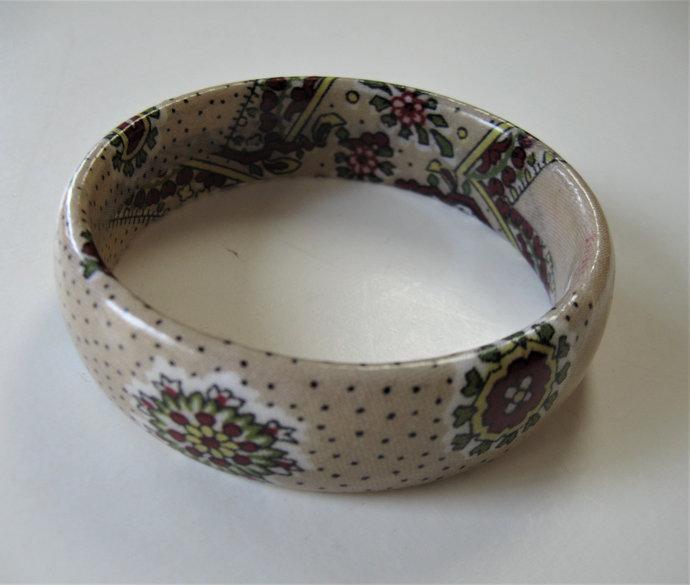 Vintage Valdrome coated Provence Fabric Bracelet beige and burgundy French