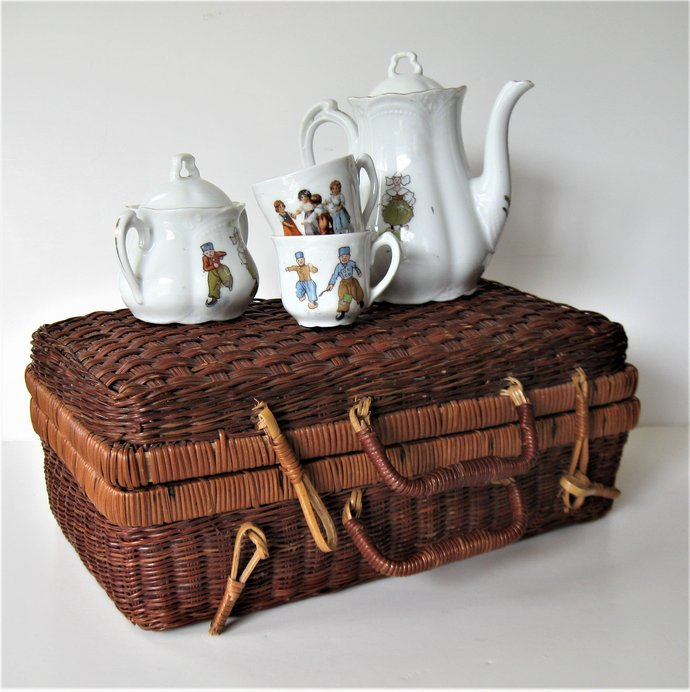Antique Child's Tea Set in a wicker basket Made in Germany Vintage toy Nursery