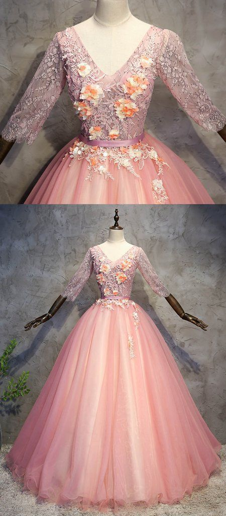Pink tulle V neck mid sleeve long senior prom dress, long lace evening dress