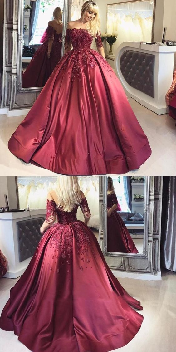 Dark Red Lace Long Sleeve Prom Dress,Off-the-Shoulder Formal Prom Dress
