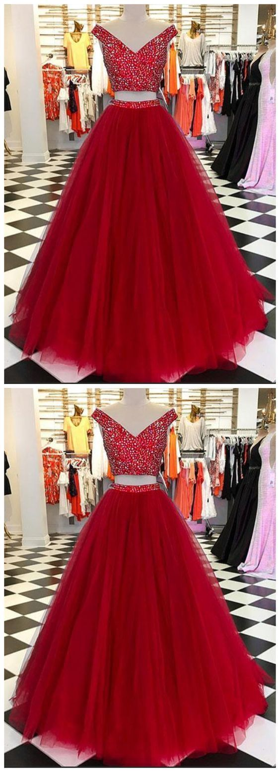 Burgundy v neck tulle beads long prom dresses,burgundy evening dresses