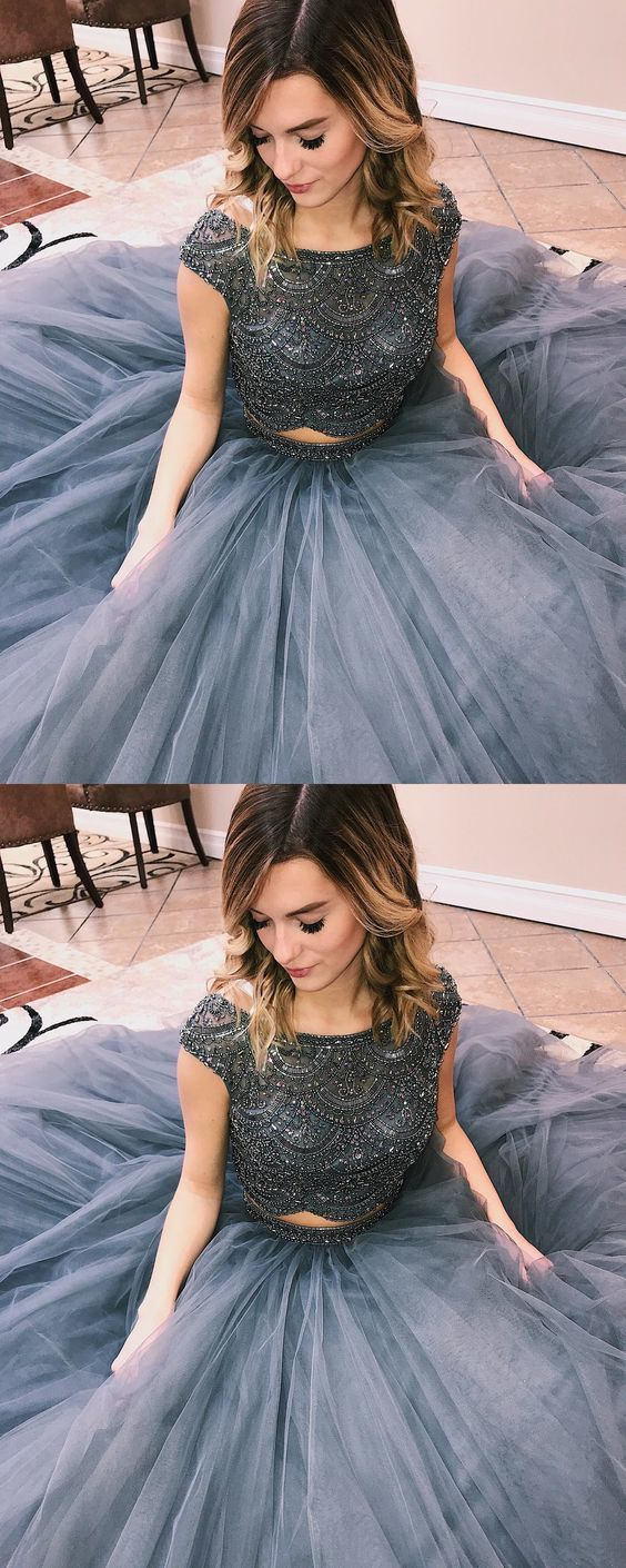 luxurious beaded two piece grey long prom dress, 2019 ball gown graduation