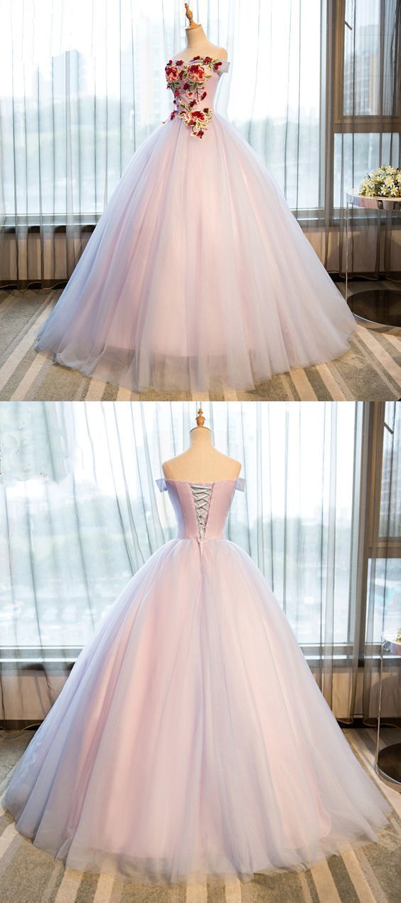 Elegant Appliques Tulle Ball Gown Prom Dresses, Formal Quinceanera Dresses,