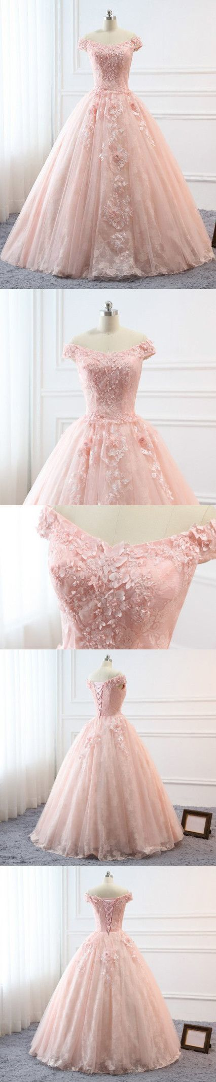 Chic A-line Off the Shoulder Lace Pink Prom Dresses Backless Evening Dress