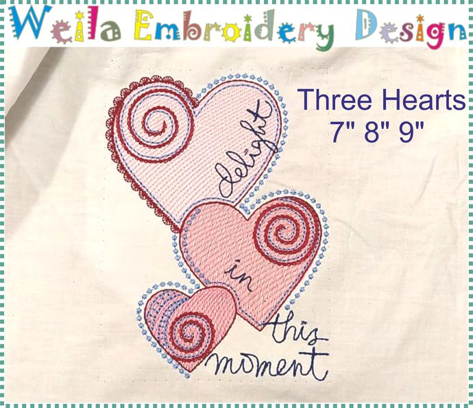 Three Hearts Maschine Embroidery design Clothes Pillow project pes jef