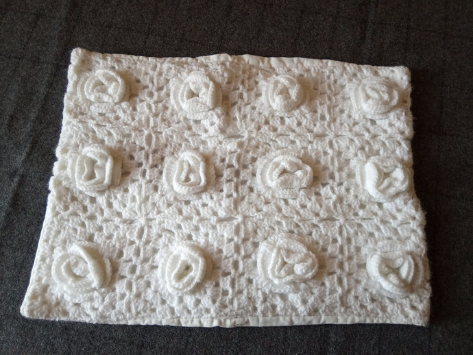 Pillow Case Hand Knitted, Roses Pattern Pillow Case, White Cushion Cover