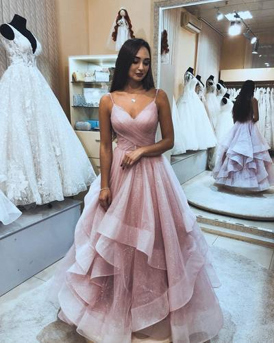 Sexy Pink Tulle Ruffles Prom Dress, Long Evening Party Dresses