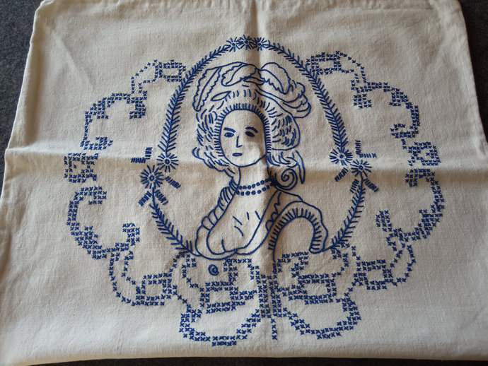 Pillow cases hand embroidered, Pair of two Blue embroidery pillow covers