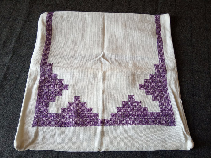 Pillow Case Hand Embroidered, Purple Embroidery Cushion Cover