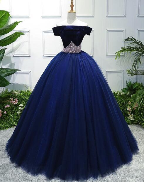 Blue Velvet and Tulle Ball Prom Gown, Gorgeous Formal Dress