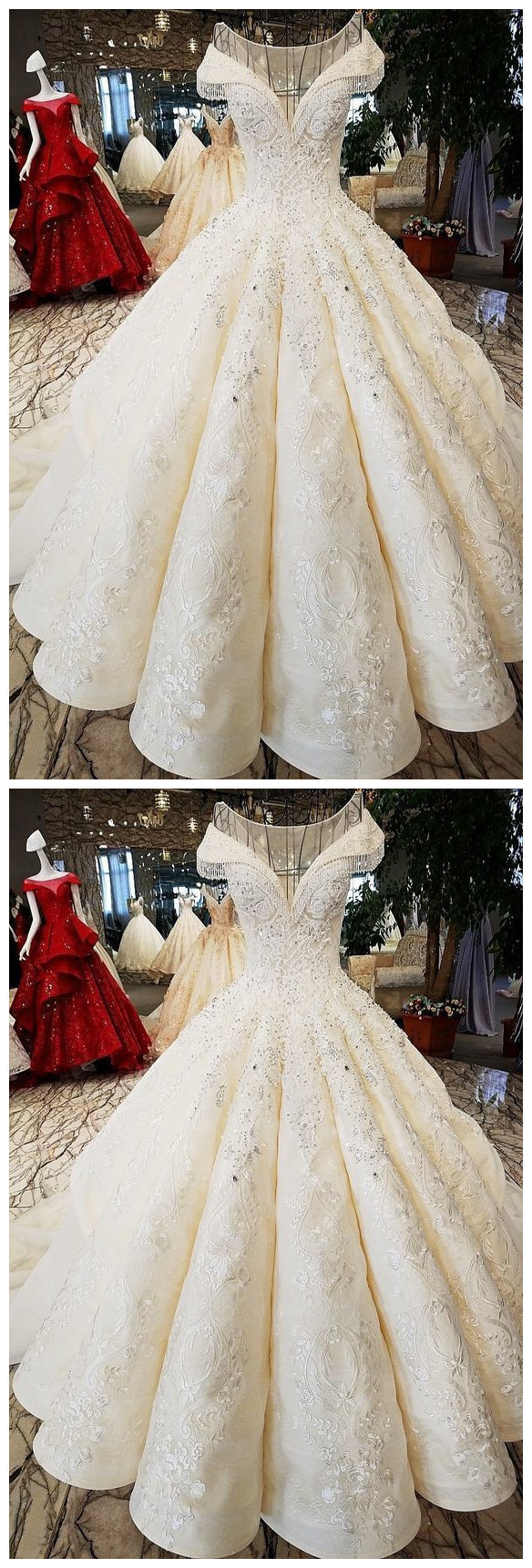 Charming Appliques Tulle Ball Gown Wedding Dresses with Beading, Formal Bridal