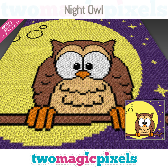 Night Owl crochet graph (C2C, Mini C2C, SC, HDC, DC, TSS), cross stitch