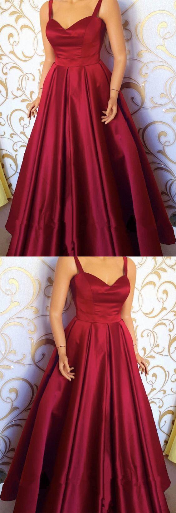 Burgundy Satin Sweetheart Floor Length Prom Dresses With Straps