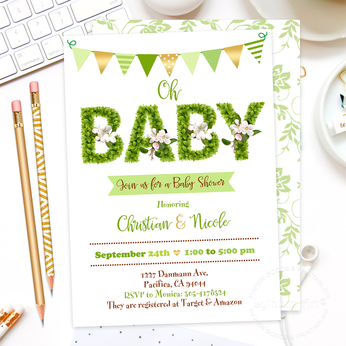 photo about Baby Shower Invitation Printable named Greenery Child Shower Invitation, Printable Report + Back again Design and style + Playing cards