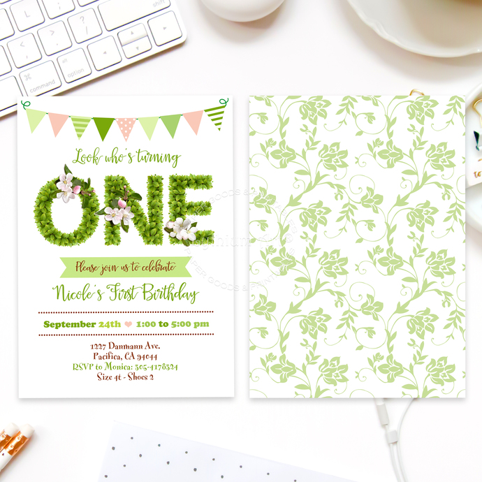 ANY AGE Greenery Invitation, Digital File + Thank you Card + Back Design