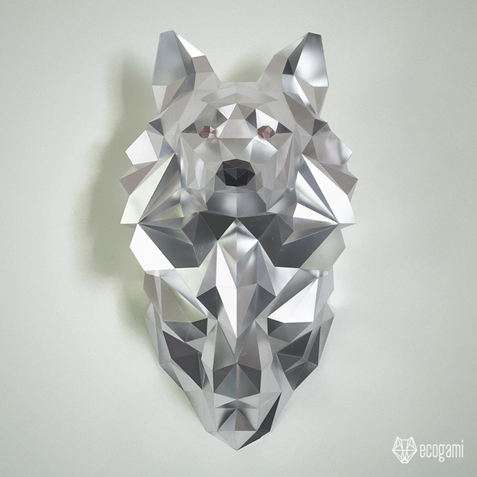 Make your own papercraft wolf head | DIY wall mount | 3D papercraft sculpture |