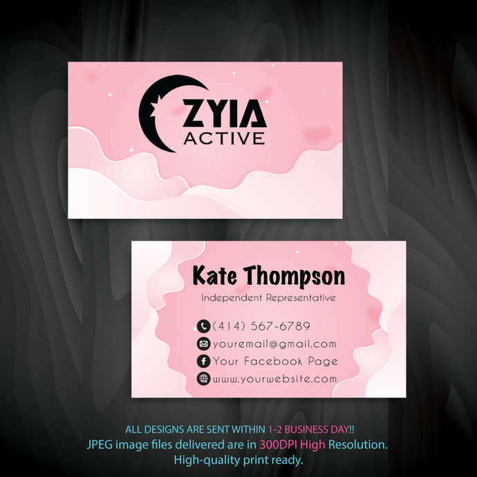 Personalized Zyia Active Business Cards, Zyia Active Digital file card, Zyia