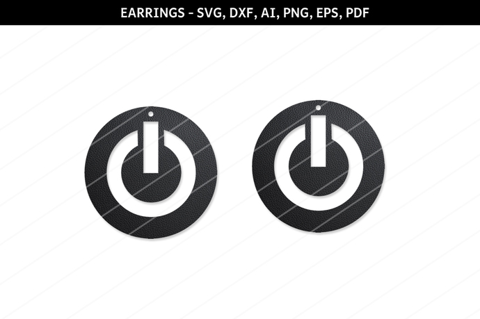 Power button earring svg,Abstract earrings svg,Hanging earring,Jewelry
