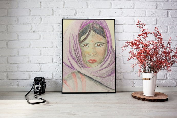 Tuareg girl portrait print | Berber Tuareg wall art print | color pencil drawing