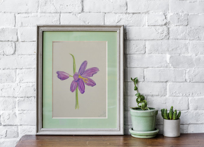 Purple flower print | Floral postcard drawing | flower drawing illustration |
