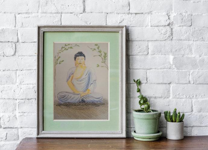 Buddha wall art blue | small Buddha drawing postcard | spiritual art print