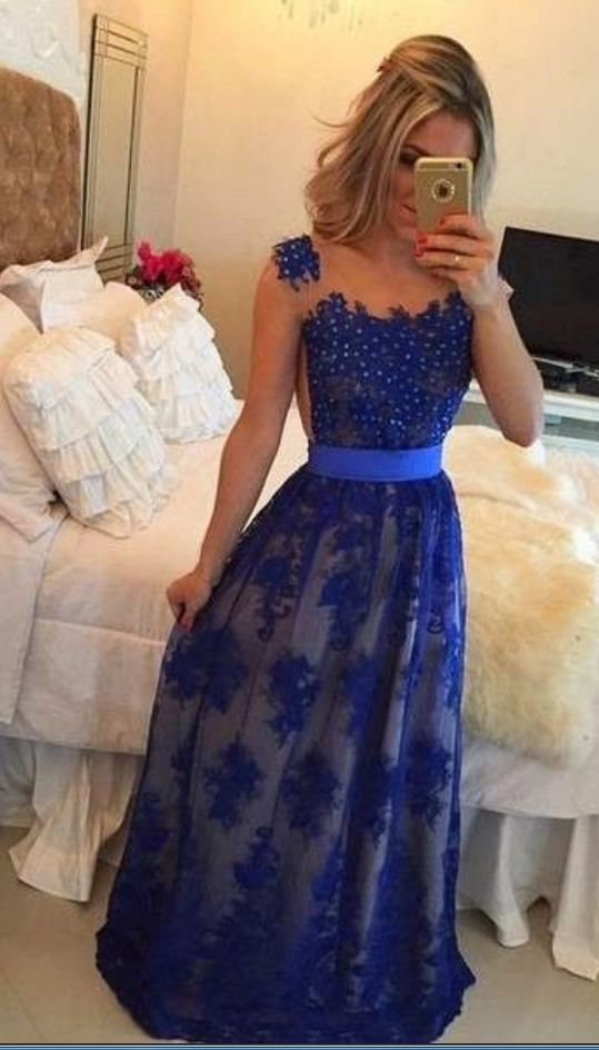 Long Sleeveless Prom Dress,Royal Blue Lace Evening Gowns with Beading,Floor