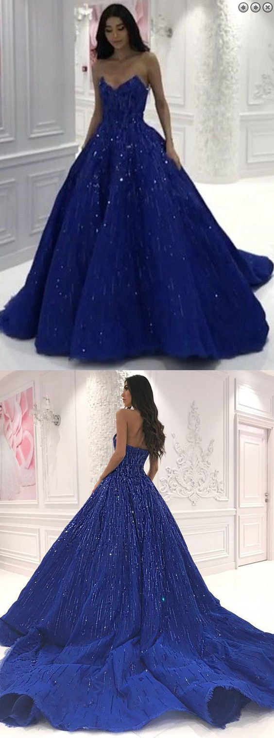 Ball Gown Sweetheart Royal Blue Satin Prom Evening Dress with Sequins