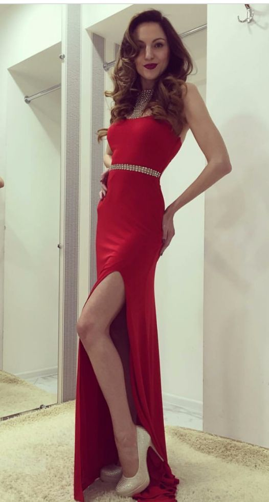 Sexy Prom Dress Evening Dress, Mermaid Red Halter Prom Dress Formal Dress,
