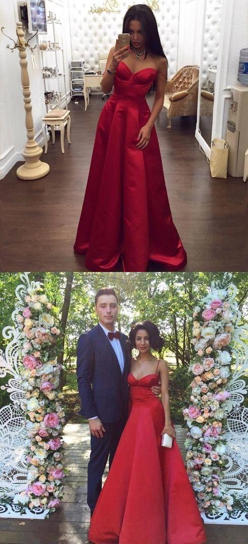 Simple Sleeveless Prom Dress, Spaghetti Straps Red Prom Dresses, Long Prom