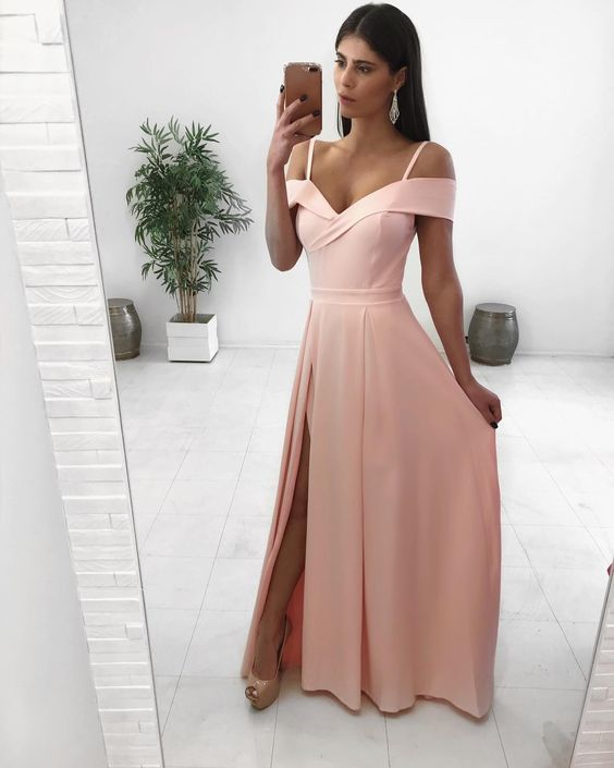 2f3b2300976 Off Shoulder Pink Prom Dresses