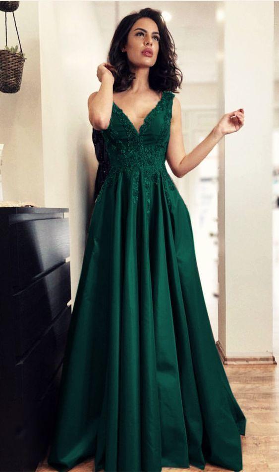 Dark Green Prom Dresses,Satin Prom Dresses,Dark Green Evening Gowns,Elegant