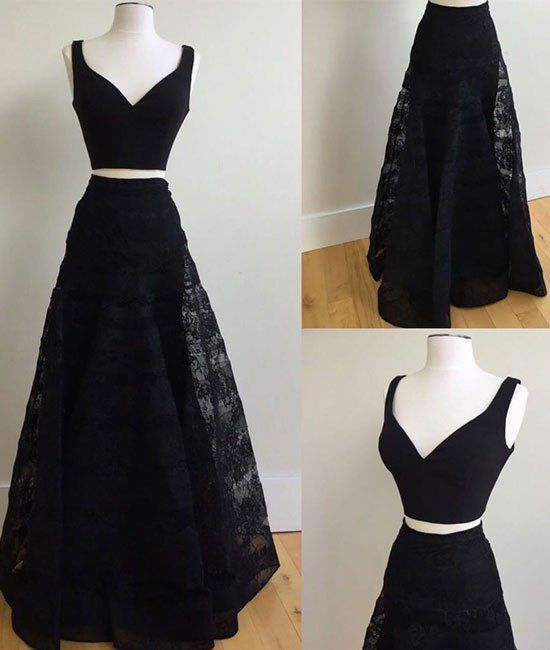 black prom dress, long prom dress, two-pieces prom dress, lace prom dress, prom