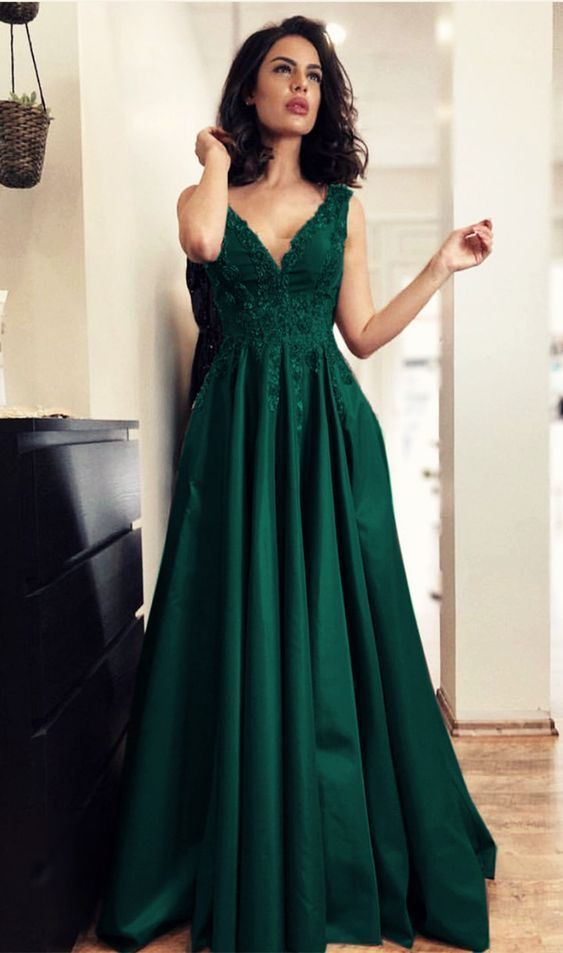 eb84f081562 Charming A Line V Neck Open Back Satin Dark Green Lace Long Prom Dresses  with