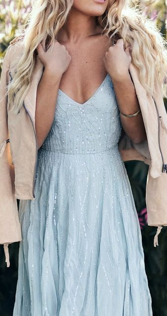Elegant A Line Prom Dress With Sequins Beads, Fashion Blue Spaghetti Straps