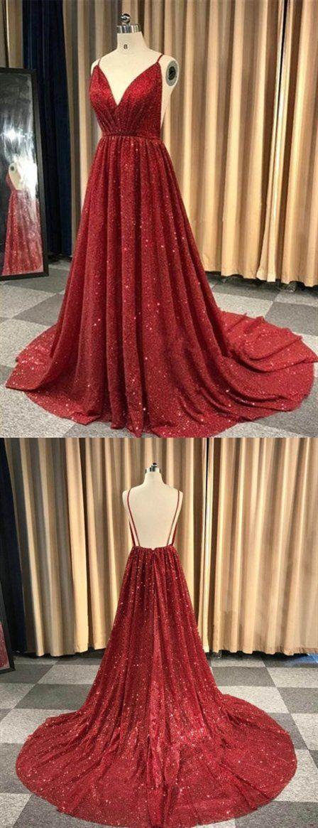 Burgundy V Neck Sleeveless Sequin Prom Dresses Backless Evening Dresses