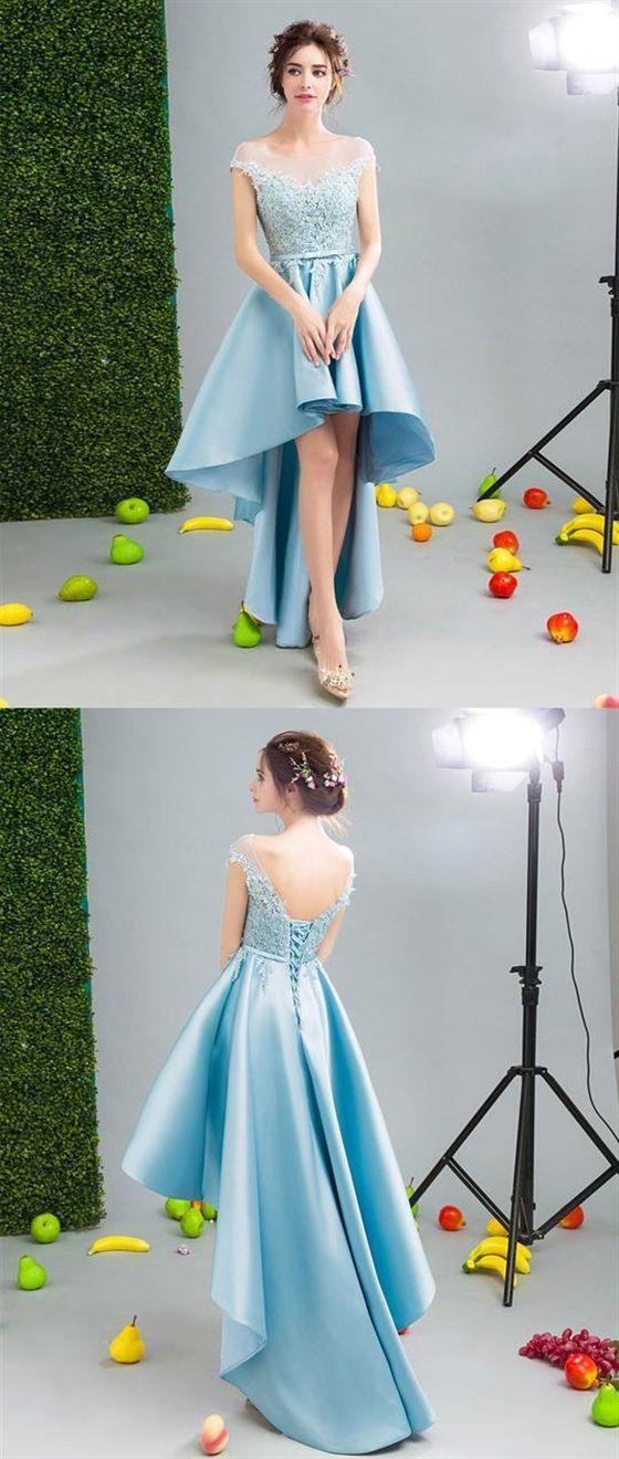 Elegant Blue Scoop Neck Lace Applique High Low Prom Dresses