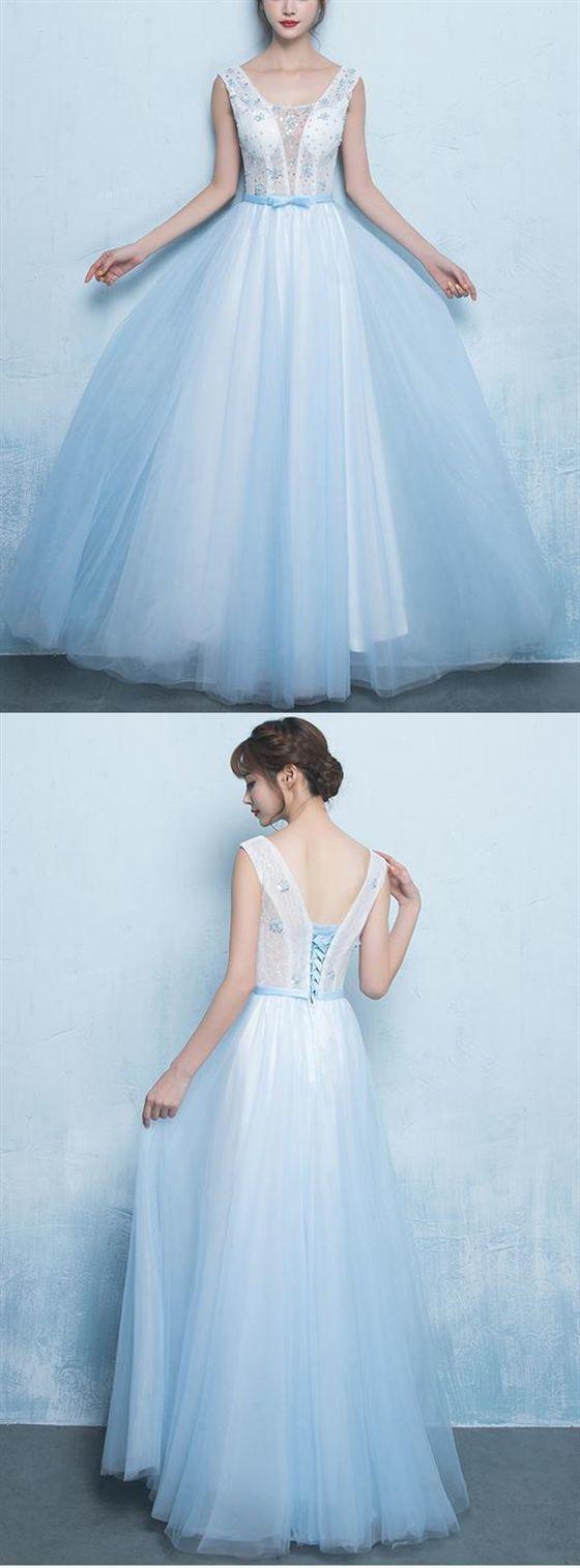Blue V Neck Sleeveless Backless Prom Dresses Beaded Evening Dresses