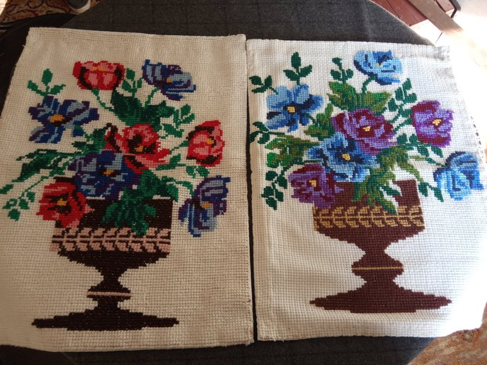 Floral Pillow Cases, Pair of Hand Embroidered Pillow Cases