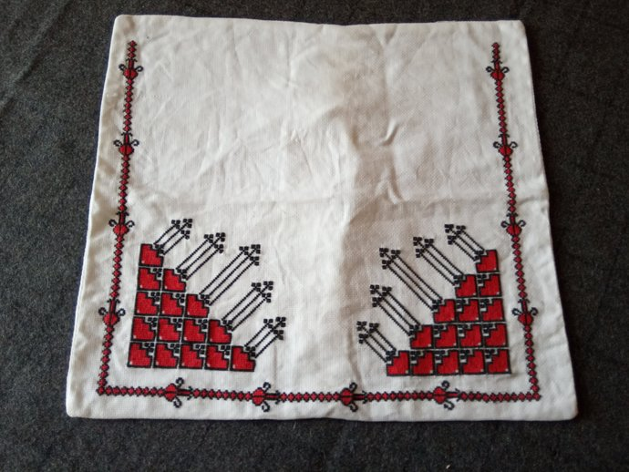 Pillow Case hand Embroidered, Folklore Pattern pillow cover