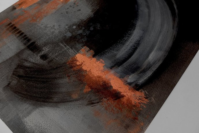 Acrylic on paper, original painting , abstract artwork, Black copper leaf