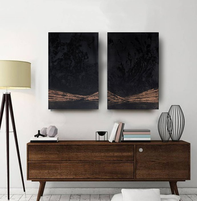 Set of 2, contemporary art, loft home decor, wall art abstract, Black and gold