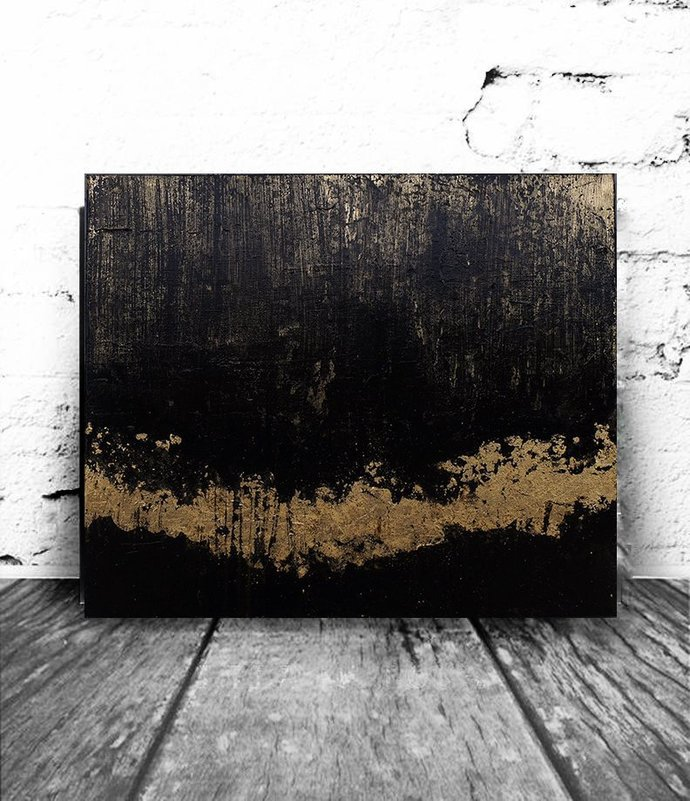 Modern Abstract Industrial Decor Loft Art Acrylic On Canvas Black Gold Leaf Abstract Painting Original Painting Abstract Wall Art